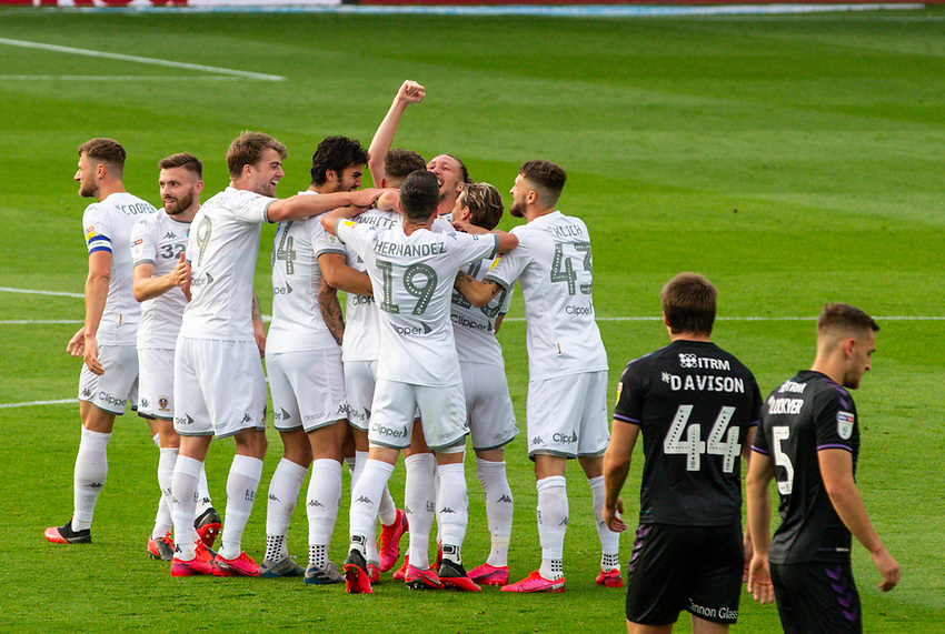 Leeds United's Ben White is mobbed by teammates after scoring the opening goal<br /> <br /> Photographer Alex Dodd/CameraSport<br /> <br /> The EFL Sky Bet Championship - Leeds United v Charlton Athletic - Wednesday July 22nd 2020 - Elland Road - Leeds <br /> <br /> World Copyright © 2020 CameraSport. All rights reserved. 43 Linden Ave. Countesthorpe. Leicester. England. LE8 5PG - Tel: +44 (0) 116 277 4147 - admin@camerasport.com - www.camerasport.com