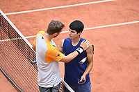 5th June 2021; Roland Garros, Paris France; French Open tennis championships day 7;  Carlos Alcaraz - Esp and Struff (ger) at the net