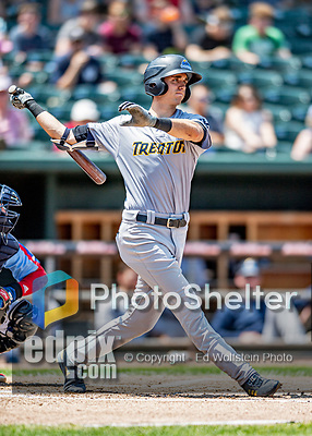 23 June 2019: Trenton Thunder outfielder Ben Ruta in action against the New Hampshire Fisher Cats at Northeast Delta Dental Stadium in Manchester, NH. The Thunder defeated the Fisher Cats 5-2 in Eastern League play. Mandatory Credit: Ed Wolfstein Photo *** RAW (NEF) Image File Available ***