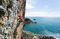 Nick Bullock on the first ascent of 'The Tum Tum Tree' E5 6a, Rhoscolyn, Gogarth, North Wales
