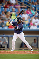 Lake County Captains center fielder Gabriel Mejia (7) at bat during the second game of a doubleheader against the West Michigan Whitecaps on August 6, 2017 at Classic Park in Eastlake, Ohio.  West Michigan defeated Lake County 9-0.  (Mike Janes/Four Seam Images)