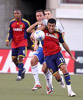 Jamison Olave, Ronnie O'Brien, Ramiro Corrales, Javier Morales in the 0-0 draw at Rice Eccles Stadium in Salt Lake City, Utah on June 18, 2008.