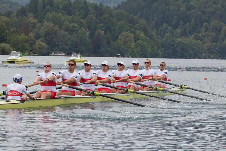 Rowing, 2011 FISA World Rowing Championships, Lake Bled, Bled, Slovenia, Europe, Rowing Canada Aviron, Canadian Men's Eight, 8+, From stern: Brian Price (Belleville, ON) Quinte RC, Will Crothers (Kingston, ON) Kingston RC, Rob Gibson (Kingston, ON) Kingston RC, Conlin McCabe (Brockville, ON) Brockville RC, Malcolm Howard (Victoria, BC) Brentwood College RC, Doug Csima (Oakville, ON) Leander BC, Jeremiah Brown (Cobourg, ON) Victoria City RC, Andrew Byrnes (Toronto, ON) St Catharines RC, Gabe Bergen (100 Mile House, BC) University of Victoria RC.