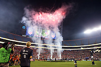 CHARLOTTE, NC - OCTOBER 3: Fireworks during a game between Korea Republic and USWNT at Bank of America Stadium on October 3, 2019 in Charlotte, North Carolina.