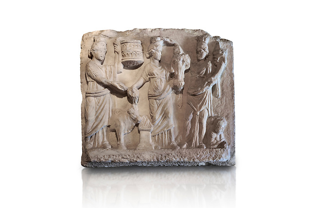 Roman relief sculpture of the Coronation of Hierapolis. Roman 2nd century AD, Hierapolis Theatre.. Hierapolis Archaeology Museum, Turkey. Against an white background