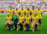 Fifa Women's World Cup Germany 2011 : Zweden - France Frankrijk at Sinsheim World Cup stadium : ploegfoto Zweden - Sweden.foto DAVID CATRY / Vrouwenteam.be