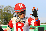 January 16, 2016: Miguel Mena celebrates after winning the Louisiana Stakes race with International Star at the Fairgrounds race course in the Louisiana Stakes race in New Orleans Louisiana. Steve Dalmado/ESW/CSM