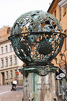 Tycho Brahe platsen Memorial sculpture over Tycho (Tyge Ottesen) Brahe on the square named after him, with astronomical, astrological and alchemy signs. Helsingborg, Skane, Scania. Sweden, Europe.