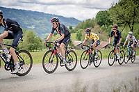 yellow jersey / GC leader Richie Porte (AUS/Ineos Grenadiers) surrounded/supported by Grand Tour winners Geraint Thomas (GBR/Ineos Grenadiers) & Tao Geoghegan Hart (GBR/INEOS Grenadiers) up the Col de Joux Plane (HC/1691m/11.6 km@8.5 %)<br /> <br /> 73rd Critérium du Dauphiné 2021 (2.UWT)<br /> Stage 8 (Final) from La Léchère-Les-Bains to Les Gets (147km)<br /> <br /> ©kramon