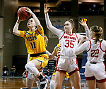 SIOUX FALLS, SD - MARCH 8: Heaven Hamling #11 of the North Dakota State Bison lays the ball up past Allison Peplowski #35 of the South Dakota Coyotes during the Summit League Basketball Tournament at the Sanford Pentagon in Sioux Falls, SD. (Photo by Richard Carlson/Inertia)