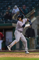 Kane County Cougars center fielder Alek Thomas (2) at bat during a Midwest League game against the Fort Wayne TinCaps at Parkview Field on April 30, 2019 in Fort Wayne, Indiana. Kane County defeated Fort Wayne 7-4. (Zachary Lucy/Four Seam Images)