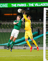 27th March 2021; Aviva Stadium, Dublin, Leinster, Ireland; 2022 World Cup Qualifier, Ireland versus Luxembourg; James Collins (Republic of Ireland) collides with Anthony Moris (Luxembourg)