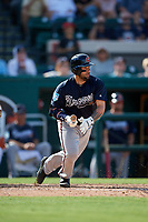 Atlanta Braves catcher Raffy Lopez (55) follows through on a swing during a Grapefruit League Spring Training game against the Detroit Tigers on March 2, 2019 at Publix Field at Joker Marchant Stadium in Lakeland, Florida.  Tigers defeated the Braves 7-4.  (Mike Janes/Four Seam Images)