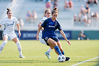 CARY, NC - SEPTEMBER 12: Lindsey Horan #10 of the Portland Thorns defends against Havana Solaun #19 of the NC Courage during a game between Portland Thorns FC and North Carolina Courage at Sahlen's Stadium at WakeMed Soccer Park on September 12, 2021 in Cary, North Carolina.