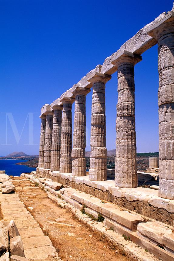 Beautiful ruins on cliff in Cape Sounion Poseidon Greece