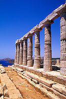 Beautiful ruins on cliff in Cape Sounion Poseidon Greece