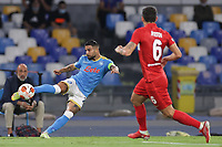Lorenzo Insigne of SSC Napoli and Ayrton of FC Spartak Moskva compete for the ball during the Europa league 2021/2022 group C football match between SSC Napoli and FC Spartak Moskva at Diego Armando Maradona stadium in Napoli (Italy), September 30th, 2021. <br /> Photo Cesare Purini / Insidefoto