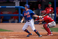 New York Mets Drew Ferguson (89) bats during a Major League Spring Training game against the Washington Nationals on March 18, 2021 at Clover Park in St. Lucie, Florida.  (Mike Janes/Four Seam Images)