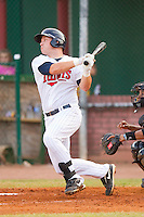 Brian Burke #9 of the Elizabethton Twins follows through on his swing against the Greeneville Astros at Joe O'Brien Field August 15, 2010, in Elizabethton, Tennessee.  Photo by Brian Westerholt / Four Seam Images