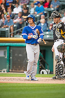 Darwin Barney (12) of the Oklahoma City Dodgers at bat against the Salt Lake Bees in Pacific Coast League action at Smith's Ballpark on May 27, 2015 in Salt Lake City, Utah.  (Stephen Smith/Four Seam Images)
