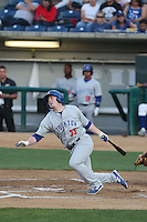 John Nogowski (33) of the Stockton Ports reacts after fouling a ball off his foot during a game against the Rancho Cucamonga Quakes at LoanMart Field on June 13, 2015 in Rancho Cucamonga, California. Stockton defeated Rancho Cucamonga, 14-2. (Larry Goren/Four Seam Images)