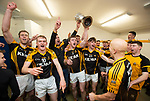 Ballyea players celebrate in the dressing room following the county senior hurling final against Cratloe at Cusack Park. Photograph by John Kelly.