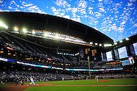 Apr. 11, 2011; Phoenix, AZ, USA; St. Louis Cardinals pitcher Kyle McClellan pitches to Arizona Diamondbacks batter Kelly Johnson in the first inning at Chase Field. Mandatory Credit: Mark J. Rebilas-