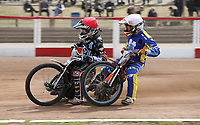 Heat 7: Zach Wajtknecht (red) and Connor Coles (white)<br /> <br /> Photographer Rob Newell/CameraSport<br /> <br /> National League Speedway - Lakeside Hammers v Eastbourne Eagles - Lee Richardson Memorial Trophy, First Leg - Friday 14th April 2017 - The Arena Essex Raceway - Thurrock, Essex<br /> © CameraSport - 43 Linden Ave. Countesthorpe. Leicester. England. LE8 5PG - Tel: +44 (0) 116 277 4147 - admin@camerasport.com - www.camerasport.com