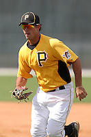 Pittsburgh Pirates first baseman Jared Lakind #31 during practice before an Instructional League game against the Philadelphia Phillies at Pirate City on October 11, 2011 in Bradenton, Florida.  (Mike Janes/Four Seam Images)