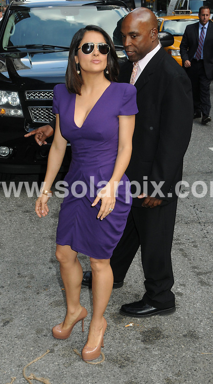 **ALL ROUND PICTURES FROM SOLARPIX.COM**.**SYNDICATION RIGHTS FOR UK, AUSTRALIA, DENMARK, PORTUGAL, S. AFRICA, SPAIN & DUBAI (U.A.E) & ASIA (EXCLUDING JAPAN) ONLY**.Late Show with David Letterman, Ed Sullivan Theater, NY, USA, 21 June 2010.This pic:  Salma Hayek.JOB REF: 11529    PHZ mayer   DATE: 21_06_2010.**MUST CREDIT SOLARPIX.COM OR DOUBLE FEE WILL BE CHARGED**.**MUST NOTIFY SOLARPIX OF ONLINE USAGE**.**CALL US ON: +34 952 811 768 or LOW RATE FROM UK 0844 617 7637**