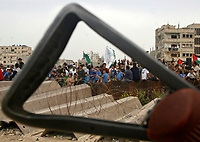 """Gaza.April.25.2008.Hamas supporters take partin aprotest calling reopen Rafah crossing border ,newr the Egyption border with gaza strip april 25,2008 Eypt sent hundreds of police officer to the sealed Rafah border crossing with gaza stripto boost security and prevent ant attempt by palestinian to breach the frontier security sources.""""photo by Fady Adwan"""""""
