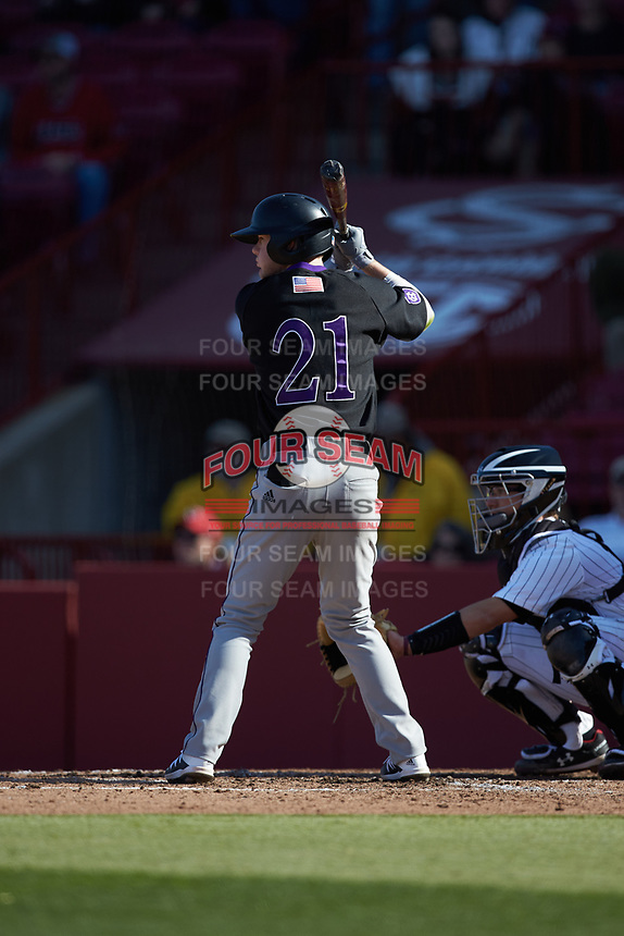 Max Power (21) of the Holy Cross Crusaders at bat against the South Carolina Gamecocks at Founders Park on February 15, 2020 in Columbia, South Carolina. The Gamecocks defeated the Crusaders 9-4.  (Brian Westerholt/Four Seam Images)