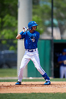 Dunedin Blue Jays Kevin Vicuna (3) during a Florida State League game against the Clearwater Threshers on April 7, 2019 at Jack Russell Memorial Stadium in Clearwater, Florida.  Dunedin defeated Clearwater 2-1.  (Mike Janes/Four Seam Images)