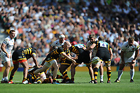 Joe Simpson of Wasps passes during the Premiership Rugby Final at Twickenham Stadium on Saturday 27th May 2017 (Photo by Rob Munro)