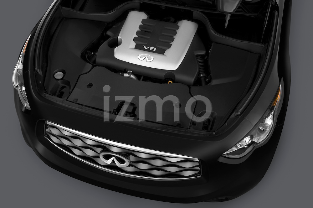 High angle engine detail of a 2009 Infiniti FX50 .