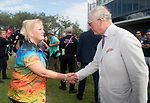 HRH Prince Charles shakes hands with Helen Phillips of Team Wales <br /> <br /> *This image must be credited to Ian Cook Sportingwales and can only be used in conjunction with this event only*<br /> <br /> 21st Commonwealth Games  -  Day 1- 05\04\2018 - Kurrawa Surf Club - Gold Coast City - Australia
