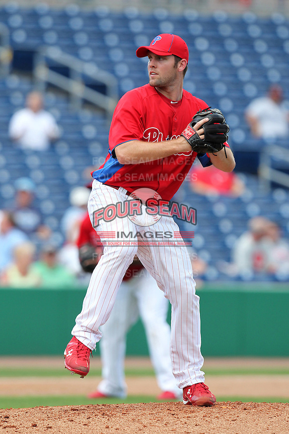 Philadelphia Phillies pitcher Joe Savery #55 delivers a pitch during a scrimmage against the Florida State Seminoles at Brighthouse Field on February 29, 2012 in Clearwater, Florida.  Philadelphia defeated Florida State 6-1.  (Mike Janes/Four Seam Images)