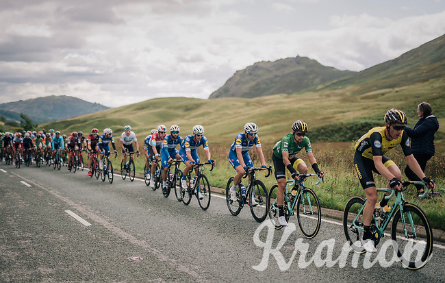 GC leader Primoz Roglic (SVK/LottoNL-Jumbo) escorted by teammates at the front of the race<br /> <br /> Racing in/around Lake District National Parc / Cumbria<br /> <br /> Stage 6: Barrow-in-Furness to Whinlatter Pass   (168km)<br /> 15th Ovo Energy Tour of Britain 2018