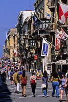 Valletta, Malta.  Republic Street (Triq Ir-Repubblik) street scene, central Valletta.