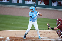Jack Riedel (25) of the North Carolina Tar Heels at bat against the South Carolina Gamecocks at Truist Field on April 6, 2021 in Charlotte, North Carolina. (Brian Westerholt/Four Seam Images)