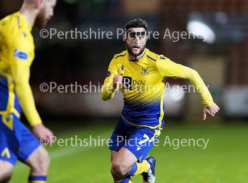 Dunfermline v St Johnstone…15.12.20   East End Park      BetFred Cup<br />Craig Conway wearing hisprotective face mask<br />Picture by Graeme Hart.<br />Copyright Perthshire Picture Agency<br />Tel: 01738 623350  Mobile: 07990 594431