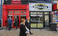 WORDS BY KARL WEST<br />Pictured: Galerie Simpson and Chicago Pizza take-away Friday 30 September 2016<br />Re: The regeneration of the High Street in Swansea, Wales, UK