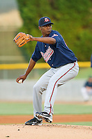 Julio Teheran #27 of the Gwinnett Braves in action against the Charlotte Knights at Knights Stadium on April 25, 2011 in Fort Mill, South Carolina.    Photo by Brian Westerholt / Four Seam Images