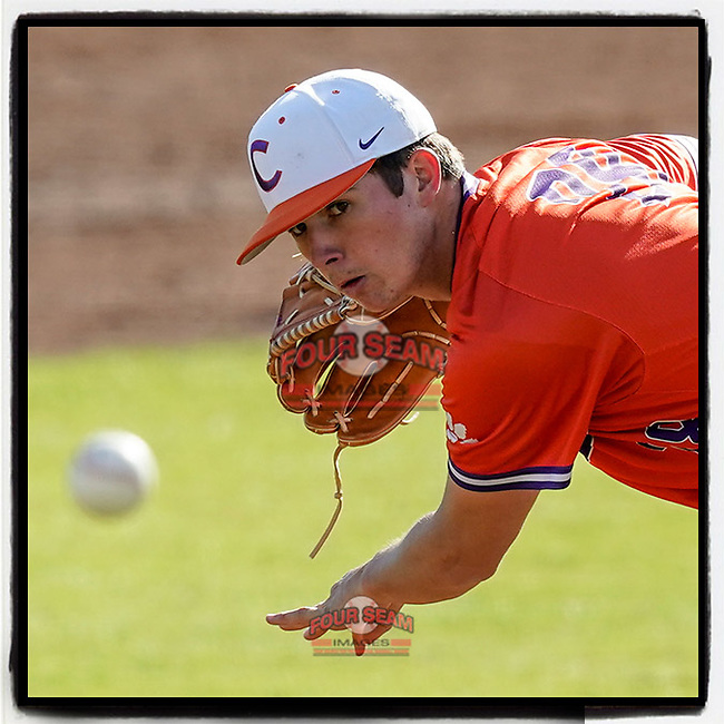 Bryson Hammer (28) of the Clemson Tigers delivers a pitch in Game 2 of the Orange-Purple intrasquad scrimmage series on Saturday, November 21, 2020, at Doug Kingsmore Stadium in Clemson, South Carolina. Orange won, 3-1. (Tom Priddy/Four Seam Images) #Clemson