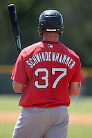 Boston Red Sox minor league player Seth Schwindenhammer #37 waits on deck during a spring training game vs the Baltimore Orioles at the Buck O'Neil Complex in Sarasota, Florida;  March 22, 2011.  Schwindenhammer would have the longest name in major league history.  Photo By Mike Janes/Four Seam Images