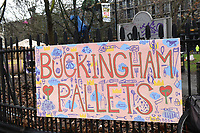A 'Buckingham Pallets' sign during a protest against the building of the HS2 railway line at Euston Square Gardens on 27th January 2021