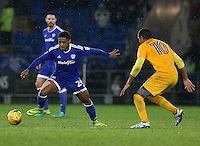 Kadeem Harris of Cardiff City is closely marked by Jermaine Beckford of Preston North End during the Sky Bet Championship match between Cardiff City and Preston North End at Cardiff City Stadium, Wales, UK. Tuesday 31 January 2017