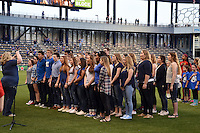 Kansas City, Kansas - Saturday April 16, 2016: Sedalia Smith Cotton high school students sing the National Anthem before the game between FC Kansas City and Western New York Flash at Children's Mercy Park. Western New York won 1-0.