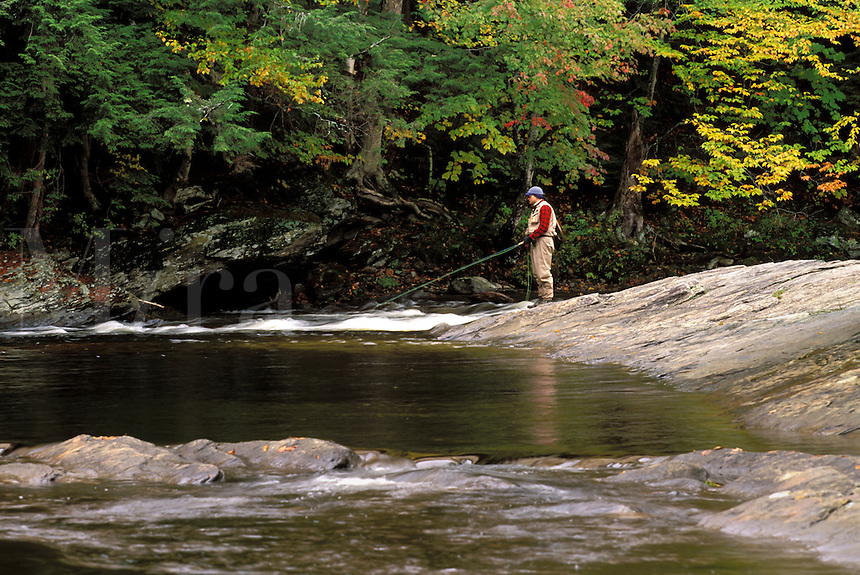 Fly fisherman fishing the North Branch of the Lamoille River, Waterville, Lamoille County, Vermon