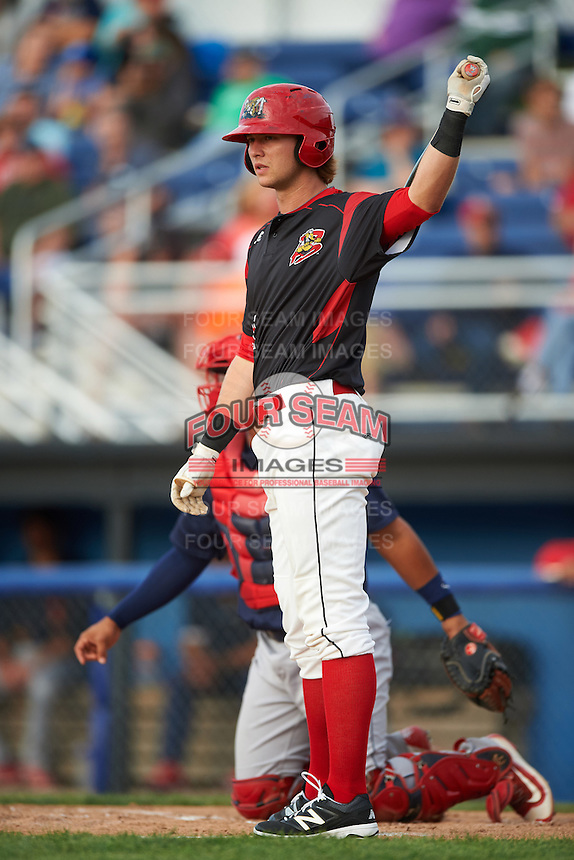 Batavia Muckdogs first baseman Matthew Foley (11) at bat during a game against the State College Spikes on June 22, 2016 at Dwyer Stadium in Batavia, New York.  State College defeated Batavia 11-1.  (Mike Janes/Four Seam Images)